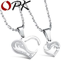 177fbe5c87 OPK Romantic Gift For Valentine's & Christmas Day Heart Puzzle Design  Pendant Stainless Steel Vintage Necklace Women Men Jewelry