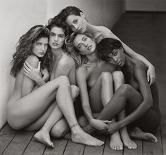 From left: Stephanie Seymour, Cindy Crawford, Christy Turlington, Tatjana Patiz, Naomi Campbell by #HerbRitts 1989