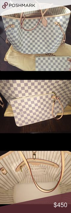 PRICE NEGOTIABLE‼️ Neverfull MM Damier Azur Brand new with dust bag, comes with pochette. Bag has serial number, quality canvas and genuine leather handles that will patina over time. Make an offer Louis Vuitton Bags Totes