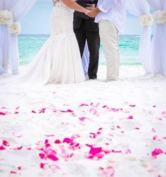 pink rose petals beach wedding ceremony