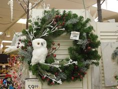 Owl Christmas Wreath at Your Christmas Shop at Stauffers of Kissel Hill Garden Centers.