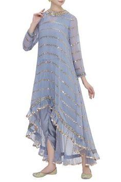 Best 12 Buy High Low Kurta Dhoti Pant Set by Vvani by Vani Vats at Aza Fashions – SkillOfKing. Designer Party Wear Dresses, Kurti Designs Party Wear, Kurta Designs, Blouse Designs, Indian Gowns Dresses, Pakistani Dresses, Indian Outfits, Stylish Dresses, Fashion Dresses