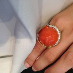 """Wearing one of the most exquisite gemstones in our Sydney flagship store Coral Ring, Coral Jewelry, Coral Turquoise, Red Coral, Jewelry Rings, Fine Jewelry, Lotus Ring, Ancient Jewelry, Chinese New Year"