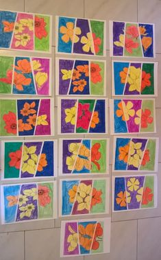 Flowers in Complementary Colors: The idea that I have from the beautiful Ar . Color Art Lessons, Art Assignments, 5th Grade Art, Ecole Art, School Art Projects, Spring Art, Art Lessons Elementary, Middle School Art, Preschool Art