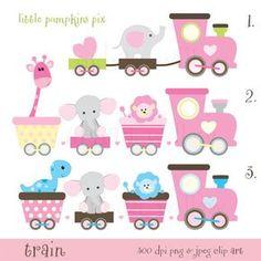 TRAIN   Pinks and Lemon. Super Sweet digital by LittlePumpkinsPix
