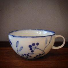 青い小枝スープカップ眞窯さんの個展は限定5日間のみ来週火曜までの開催です #織部 #織部下北沢店 #陶器 #器 #ceramics #pottery #clay #craft #handmade #oribe #tableware #porcelain
