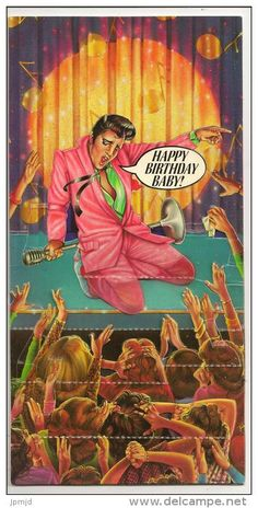 Birthday rock-Happy Birthday by Richard L. Shaefer and Paul Zalon Happy Birthday Elvis, Happy Birthday Vintage, Funny Happy Birthday Meme, Sister Birthday Quotes, Happy Birthday Messages, Happy Birthday Images, Happy Birthday Greetings, Humor Birthday, Sister Quotes