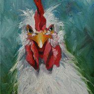 Comisión tus propio cuatro pinturas Gallo 12 x 12 por RozArt