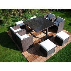 Rattan Cube Patio Set Rattan Wicker Garden Furniture Patio Wicker Furniture Set  #RattanCubePatioSet