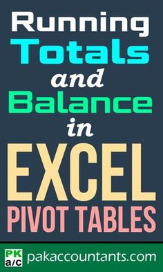 Learn how to do Running totals and running balance super easily with this technique in Excel Pivot Tables in this step by step tutorial for beginners Computer Help, Computer Programming, Computer Tips, Microsoft Excel Formulas, Computer Shortcut Keys, Excel For Beginners, Excel Hacks, Office Hacks, Pivot Table