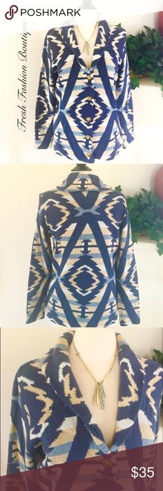 Chaps Tribal Print Cardigan Bring stylish sophistication to your wardrobe with this women's Chaps cardigan sweater with Southwestern tribal print, Shawl collar, Button front and Long sleeves. Perfect for fall. Chaps Sweaters Cardigans