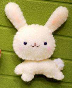 Eco Friendly Felt Bunny Plushie Magnet or by LittleFluffStuff
