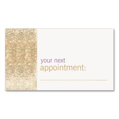 Modern and Hip Gold FAUX Sequin Appointment Card Double-Sided Standard Business Cards (Pack Of 100). This is a fully customizable business card and available on several paper types for your needs. You can upload your own image or use the image as is. Just click this template to get started!