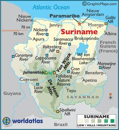 map of Suriname. Geographically Suriname is in South America but it is culturally and historically part of the Caribbean. It is a member of Caricom. | Repinned by @pedrosilvaconde
