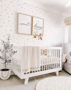Interested in creating a statement wall in your little's nursery? Check out these trendy nursery wallpaper ideas to transform your space. Baby Room Themes, Baby Boy Rooms, Baby Boy Nurseries, Baby Room Diy, Baby Cribs, Baby Nursery Decor, Baby Decor, Nursery Room Ideas, White Nursery