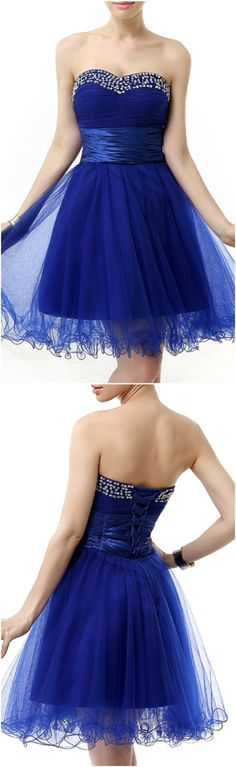 Enchanted 2016 Homecoming Dresses, Prom Dress, Royal Blue A-Line Sweetheart Short Tulle Prom Dress With Beading Ruffles, Short/Mini A Line homecoming dress, 2016 homecoming dress. Find This Lovely Dress from GemGrace, Enjoy Free Shipping Today.