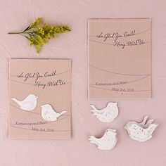 Seed Paper Love Birds Personalized Favor Card - WONDERFUL WEDDING WAREHOUSE