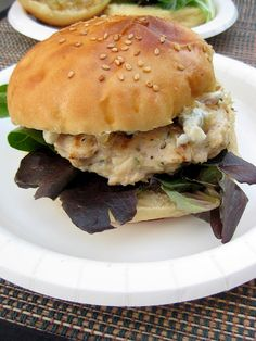 a hint of honey: Rosemary Chicken Burgers with Caramelized Shallots and Blue Cheese