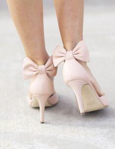 Blush Back Bow Heels დ #escarpins #noeud #rose #poudre