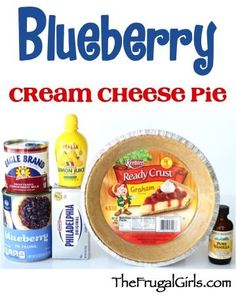 Blueberry Cream Cheese Pie Recipe! ~ from TheFrugalGirls.com ~ just a few ingredients and you've got yourself a delicious pie for dessert or your holiday parties!