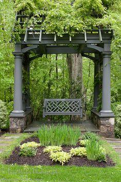 garden design - DIY Backyard Pergola Trellis Ideas To Enhance The Outdoor Life Onechitecture Pergola Swing, Backyard Pergola, Pergola Plans, Pergola Kits, Pergola Ideas, Pergola Roof, Cheap Pergola, Wisteria Pergola, Vinyl Pergola