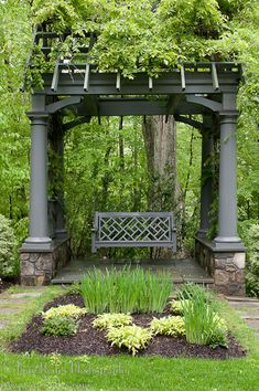 arbor with slanted roof trellis