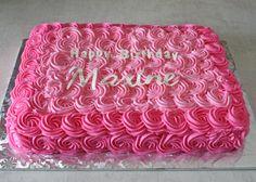 teenager birthday cake for girl turning 14 flat layer Birthday Sheet Cakes, Pink Birthday Cakes, Happy Birthday Cakes For Women, Girl Birthday, Baby Shower Sheet Cakes, Bridal Shower Cakes, Pastel Rectangular, Sheet Cakes Decorated, Rosette Cake