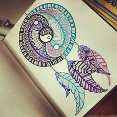 this dreamcatcher drawing is amazing, i don't usually like felt tip drawings but this looks really good.