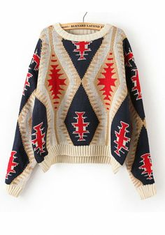 Beige Geometric Print Thick Loose Cotton Blend Sweater