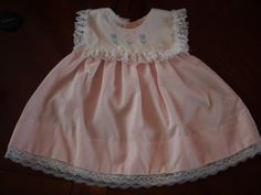 Vintage Pale Pink Baby Girls Dress with Flower Embroidery and Lace trimmed Collar Alexis brand 9 months https://www.etsy.com/shop/AmeliaBabble