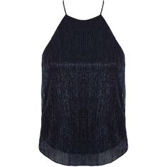 Miss Selfridge Petites Navy Shimmer Cami Top ($12) ❤ liked on Polyvore featuring tops, navy, petite, petite tank tops, polyester camisole, navy cami, blue top and navy camisole