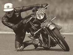 John Surteesis quite easily one of the greatest racers of all time,This is John at the age of 15 riding his fathers Vincent Black Lightning.