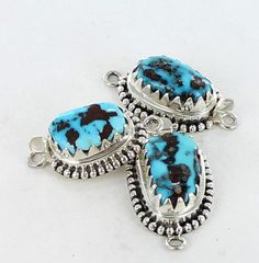 KINGMAN TURQUOISE STERLING CLASP LARGE BLUE FREE FORM SERATED from New World Gems