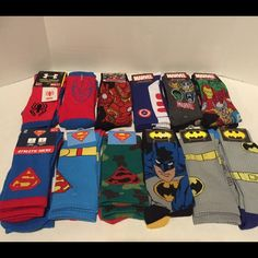 Variety of Superheroes Socks. $15 each. Variety of Superheroes Socks. Batman, Marvel and Superman.PLEASE DO NOT BUY FROM THIS POSTAsk to make you a new post individual or bundled.CAPTAIN AMERICA SOLD!!! Accessories Hosiery & Socks