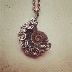Spiral Wire Wrapped Ammonite Pendant