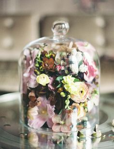 glass dome of florals