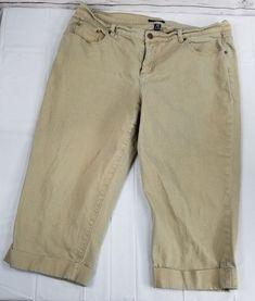 bdd8fc8a32b CHAPS Jeans Womens Plus Size 16W Capri Beige Cuffed Stretch SKU50P. Capri jeansStretchesWomen s  clothingWoman ...