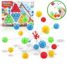 New plastic Inserted bead ball making different shapes education toy, daedal bead toy, Educational multicolour magical beads
