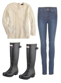 """""""I love a good cream cable knit sweater with skinny jeans and some Wellies. It's really chic but still comfortable, nautical and perfect for a rainy day.""""-Ilaria Urbinati"""