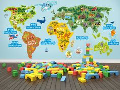 1319 Best Kids Wall Decal world map for by BestStickersTshirts