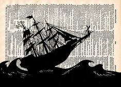 A pirate ship with huge billowing sails is depicted in black and white on a page from a vintage book.    ...TITLE...Pirate Ship  *Find more