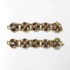 Pair of bracelets composed of units of gold, decorated with enamels and set with garnets and pearls in the 17th century manner, Hungary, perhaps 18th or 19th century. Height: 3.1 cm, Width: 14.1 cm, Depth: 1.8 cm