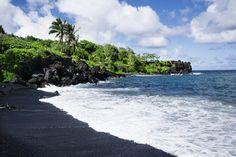 Punaluu Black Sand Beach in Maui, Hawaii