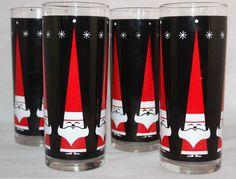 VINTAGES verres highball Holt-Howard Libbey atomique Santa, ensemble de quatre