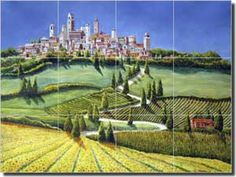 "Fine Art Ceramic Tuscan Landscape Tile Mural and Backsplash by Artwork On Tile x - ""Tuscany Panorama"" by Sarah A. Hoyle - Perfect for kitchens, backsplashes, showers and other interior spaces. Mosaic Tile Designs, Mosaic Tiles, Sidewalk Cafe, Tile Murals, Tuscan Decorating, Tuscany, Backsplash, Ceramics, Fine Art"