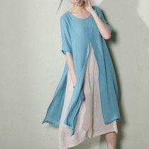 Light blue layered summer dress long cotton maxi dresses plus size