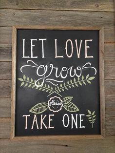 Hand-drawn chalkboard sign for wedding favors: saplings
