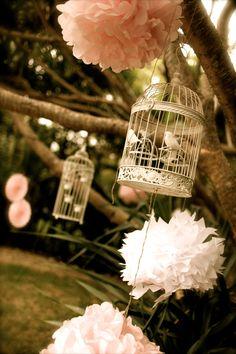 our bride Melanie's wedding, decorative birdcage, paper pom poms, vintage, glam, rustic theme @ jenniferregan.com.au