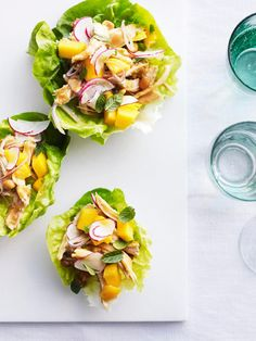 Chicken-Peanut Salad in Lettuce Cups - A spicy Asian-inspired chicken salad combines the sweet taste of peanut butter with cooked chicken, radishes, serrano chiles and mint. #MyPlateBirthday