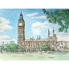London Big Ben and Westminster Abbey art print from an original... ❤ liked on Polyvore featuring home, home decor, wall art, water colour painting, watercolour painting, big ben clock, big ben drawing and watercolor wall art